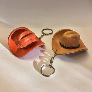 Accessories - Mini Leather Western Hat Keychains Purse Charms